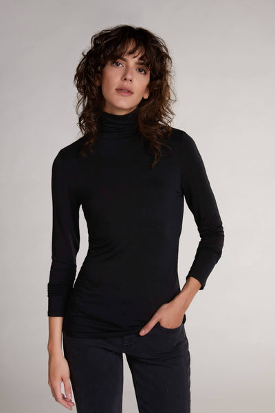 Oui Black Roll Neck Long Sleeved Top Front