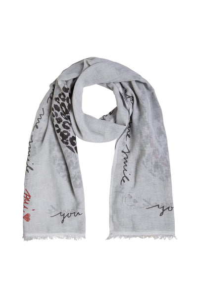 Oui Light Grey Print Diamante Scarf