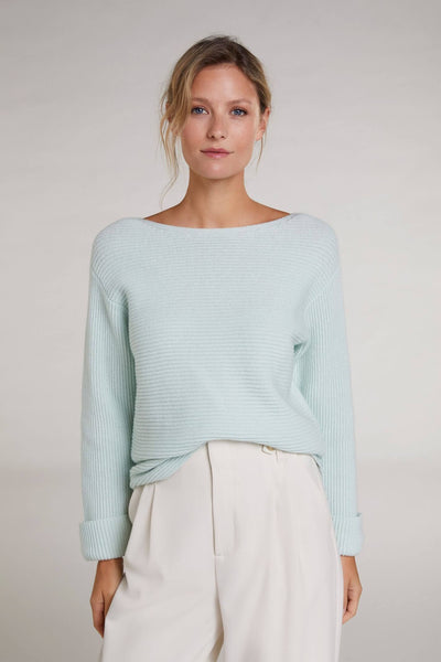 Oui Cotton Knit Mint Green Jumper  Front