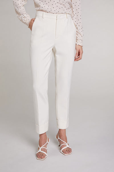 Oui 71476 Antique White Turn Up Trousers