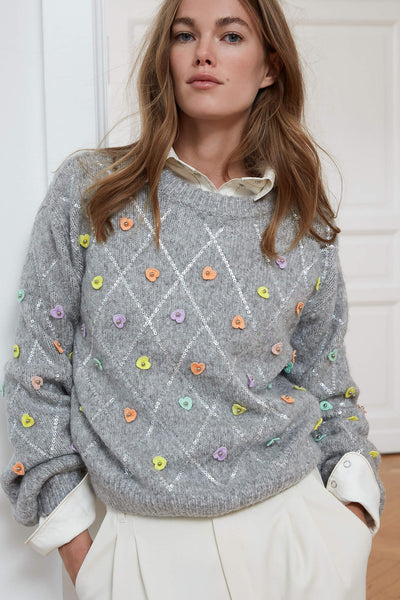 Oui 71719 Grey Jumper With Embellished Hearts Front
