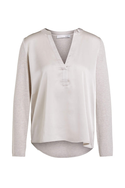 Oui 71929 Top With Silky Front in Light Stone Front