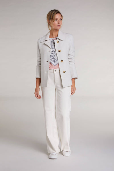 Oui 71945 Boiled Wool Jacket in Off-White Front