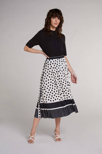 Oui 72082 White Black Polka Dot Pleated Skirt