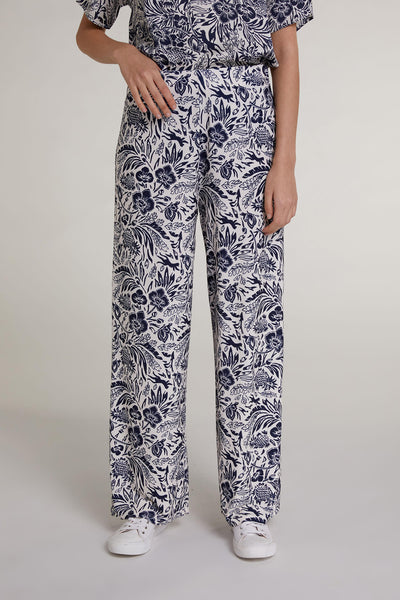 Oui 72714 White Navy Tropical Print Wide Leg Trousers - Olivia Grace Fashion