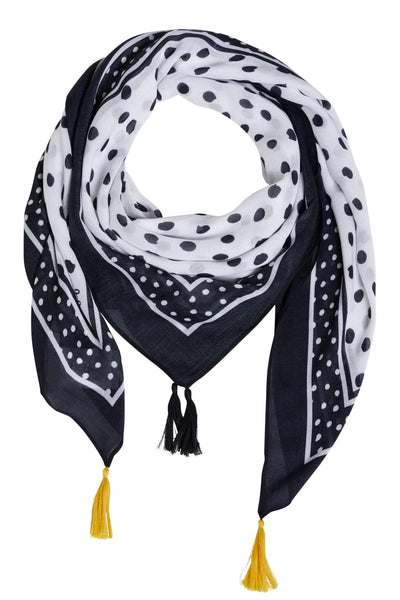 Oui 72825 White Black Polka Dot Scarf