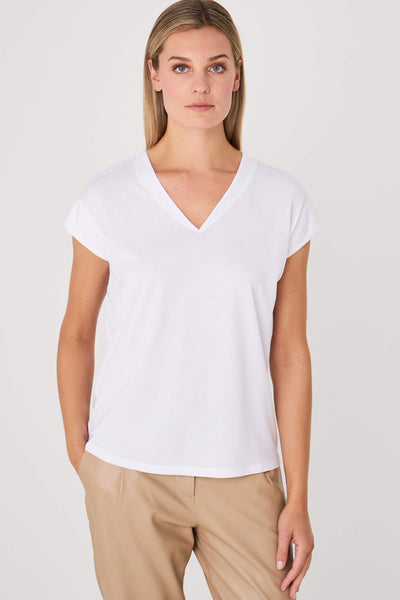 Repeat Cashmere 500174 White V-Neck T-Shirt