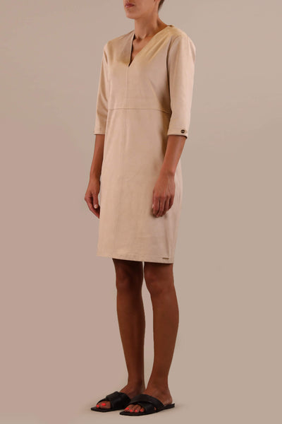 Rino & Pelle Classy White Swan Faux Suede Dress - Olivia Grace Fashion