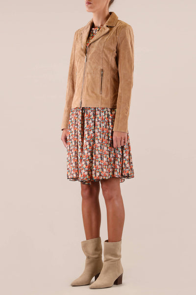 Rino & Pelle Saxton Tan Suede Biker Jacket - Olivia Grace Fashion