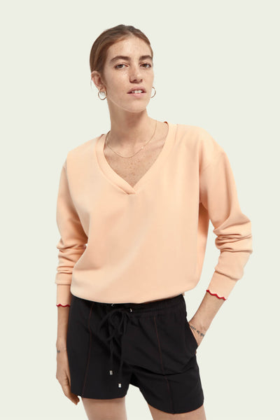 Scotch & Soda 161687 Soft Peach V-Neck Sweat - Olivia Grace Fashion