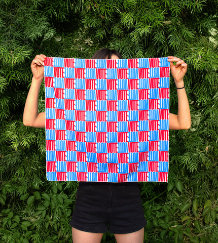 CHECK OUT THE VOTE red and blue checkered bandana unfolded into 21x21 inch square