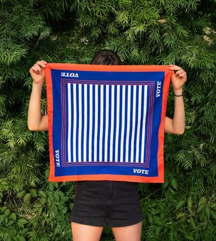 VINTAGE VOTER bandana is bold and classic way to show off your voting support.