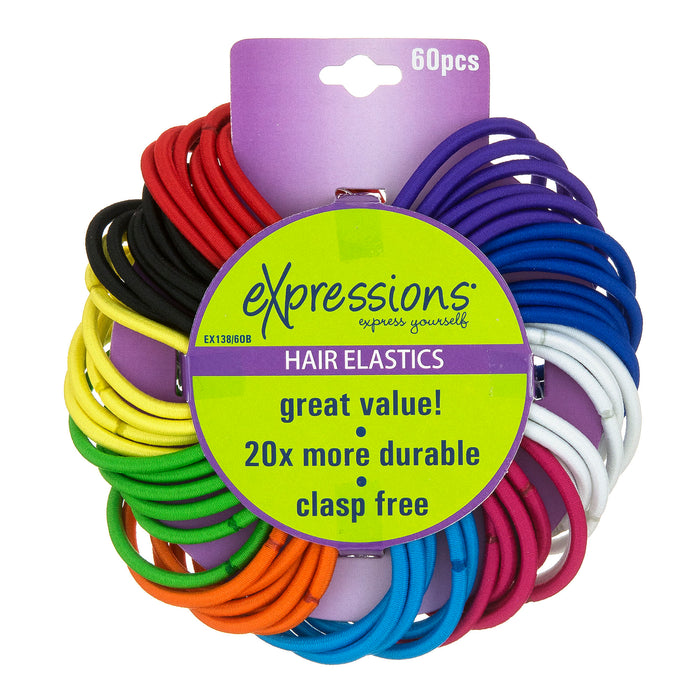 Expressions 60-Piece Clasp Free Durable Hair Elastics in Bright Colors