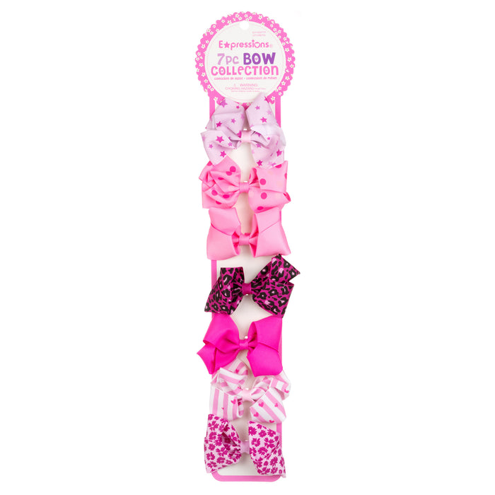 Expressions 7PC Grosgrain Bow Clip Collection - Assorted Pink Shades