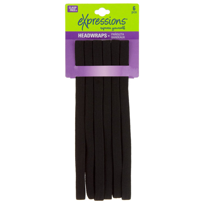 Expressions 6-Pack Clasp-Free Headbands In Black