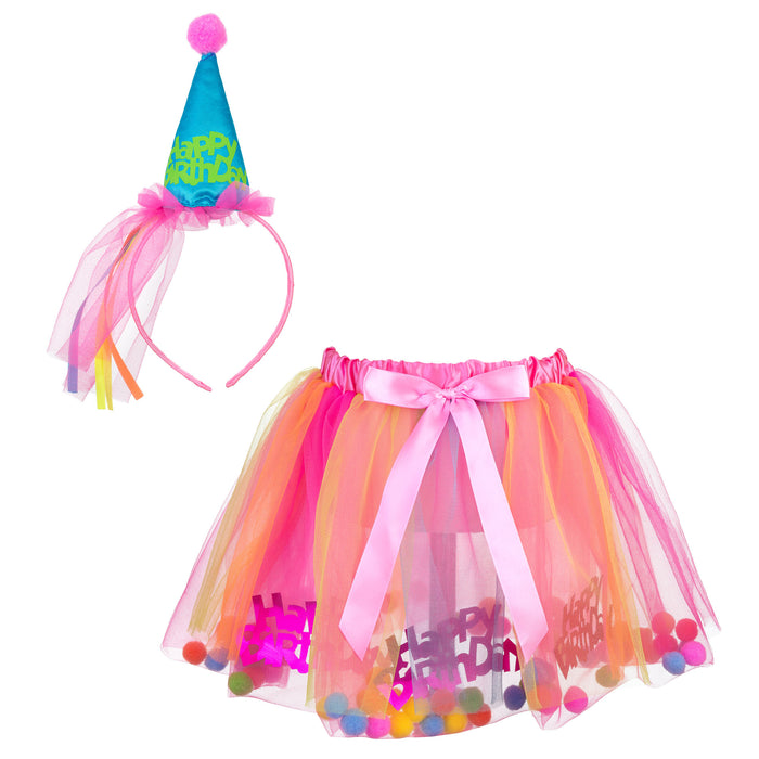 Princess Expressions 3-Piece Birthday Girl Costume in Neon