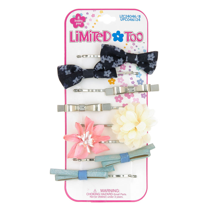 Limited Too Hair Accessories 8-Piece Bobby Pins w/ Assorted Flowers & Bows