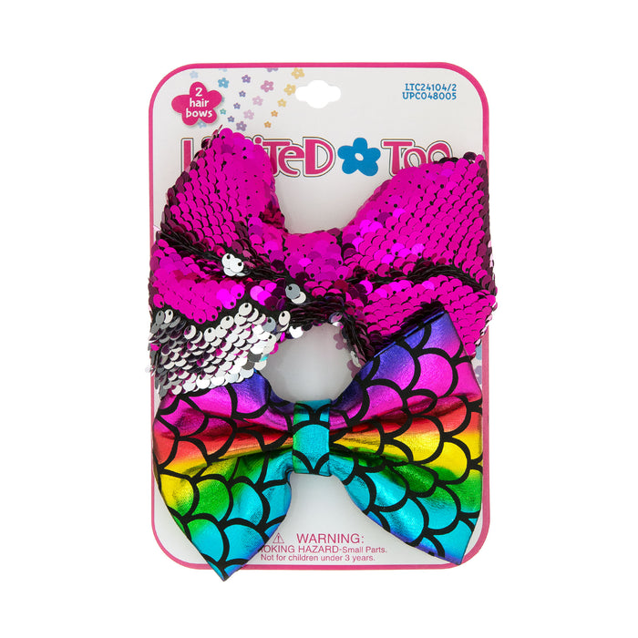 Limited Too Hair Accessories 2-Pack Hair Bows in Sequin & Metallic