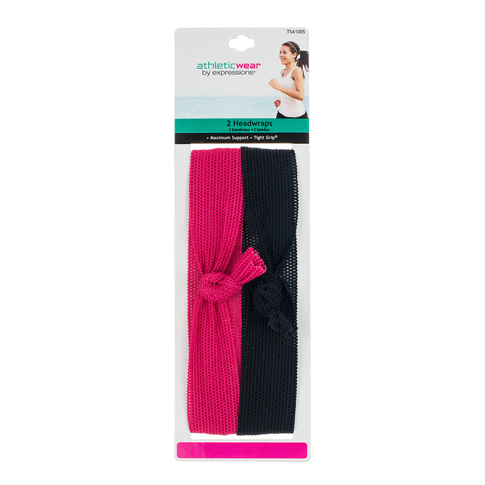 Athletic Wear by Expressions 2-Piece Woven Top-Knot Headwraps