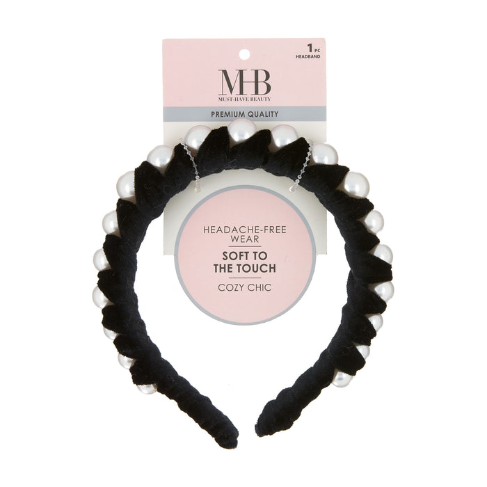 MHB Must-Have-Beauty Luxe Headbands - Velvet Wrapped Pearl