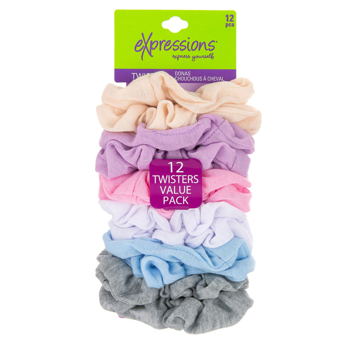 Expressions 12-Piece Scrunchie Twisters in Pastel Colors