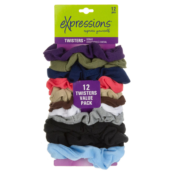 Expressions 12-Piece Scrunchie Twisters in Basic Colors
