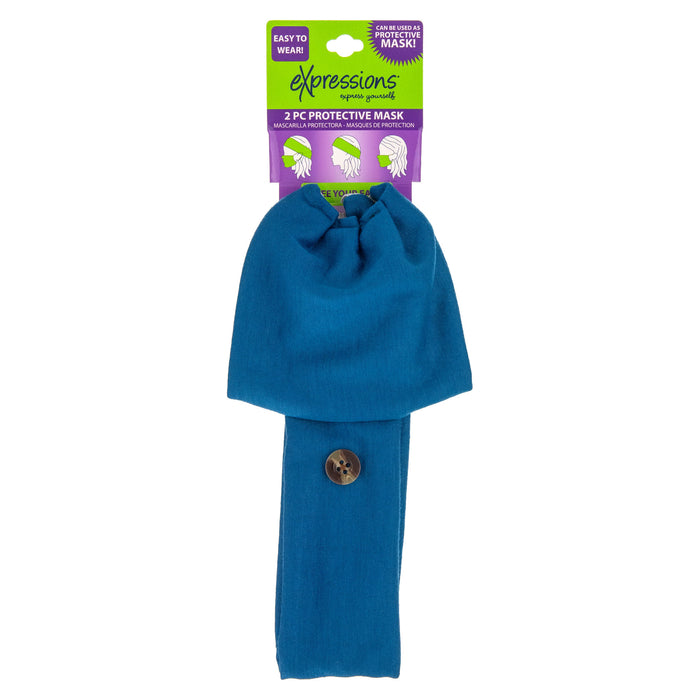 Expressions 2-Piece Protective Mask w/ Detachable Headwrap