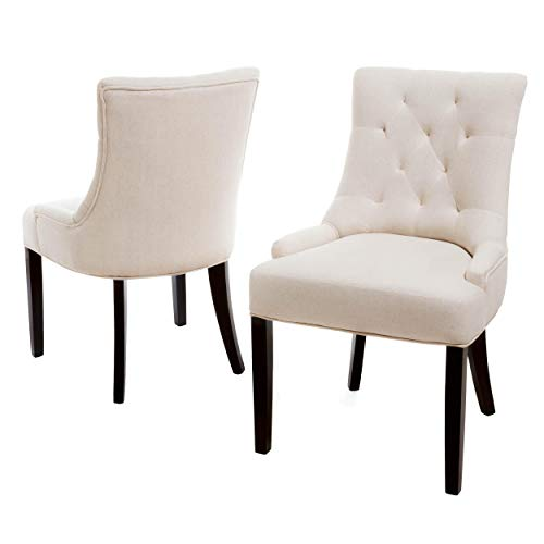 Hayden Tufted Fabric Dining Chairs Set of 2- Beige - Home Furnishing Goods
