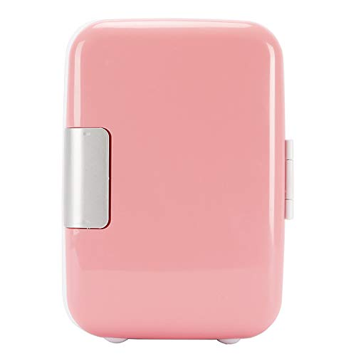Mini Fridge 4 Liter Portable Cooler and Warmer refrigerator for Skincare, Milk, Foods, Bedroom and Travel fridge (Pink)