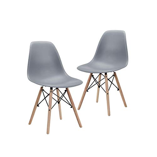 Modern Style Dining Chair Natural Wooden Legs Set of 2- Grey - Home Furnishing Goods