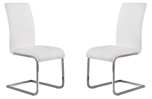 Amanda Side Upholster Chrome White Finish Chair- Set of 2 - Home Furnishing Goods