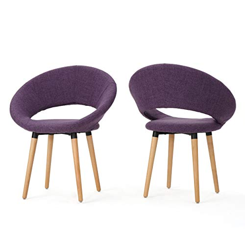 Keegan Fabric Modern Dining Chairs Set of 2- Purple - Home Furnishing Goods