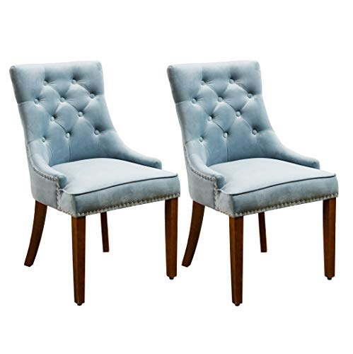 Velvet Fabric Dining Chairs Set of 2- Blue - Home Furnishing Goods