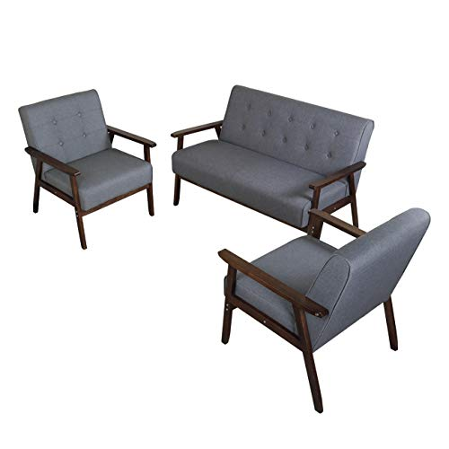 JIASTING Mid Century 1 Loveseat Sofa and 2 Accent Chairs