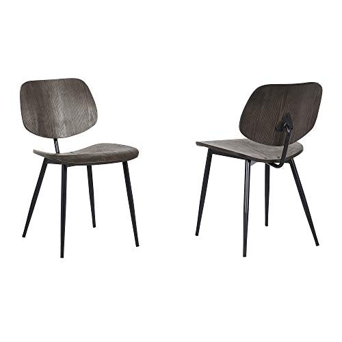 Miki Mid Metal Chair-Set of 2, Walnut Wood - Home Furnishing Goods