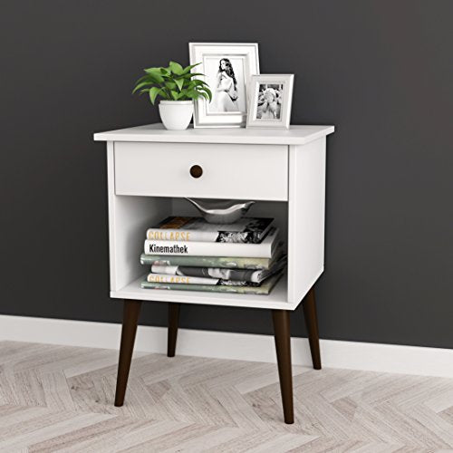 White/Espresso Nightstand Side End Table Open Storage with Drawer 24