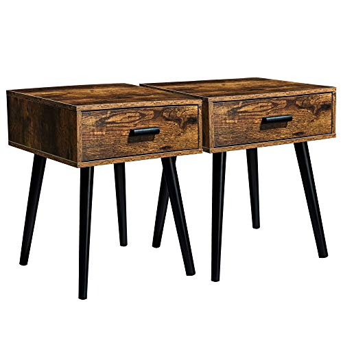 TianLang Nightstand with 1 Drawer,Set of 2 Industrial Side Table