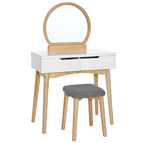 VASAGLE Vanity Table Set with Round Mirror 2 Large Drawers with Sliding Rails