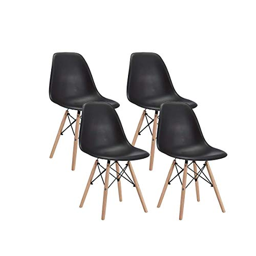 Lounge Plastic Natural Wooden Leg Chairs Set of 4- Black - Home Furnishing Goods