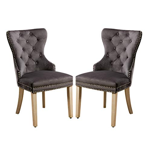 Velvet Dining Chairs Padded with Armrest Nailed Trim Set of 2- Dark Grey - Home Furnishing Goods