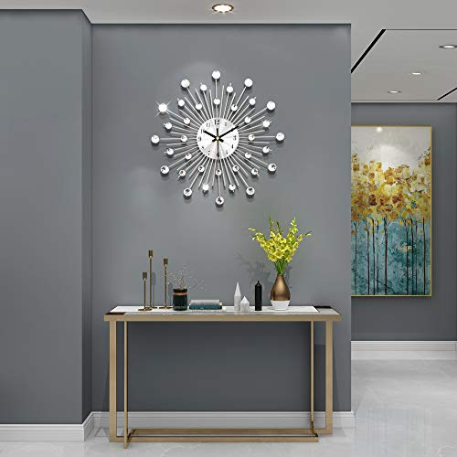 JUJUDA Modern Wall Clock 12.99inch Round Diamond Luxury Wall Decorative Silent Wall Clock for Living Room,Bedroom,Office