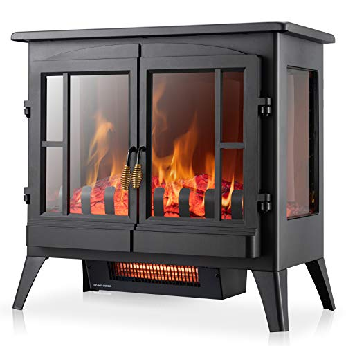 Xbeauty Electric Fireplace Stove, Freestanding Fireplace Heater with Realistic Flame