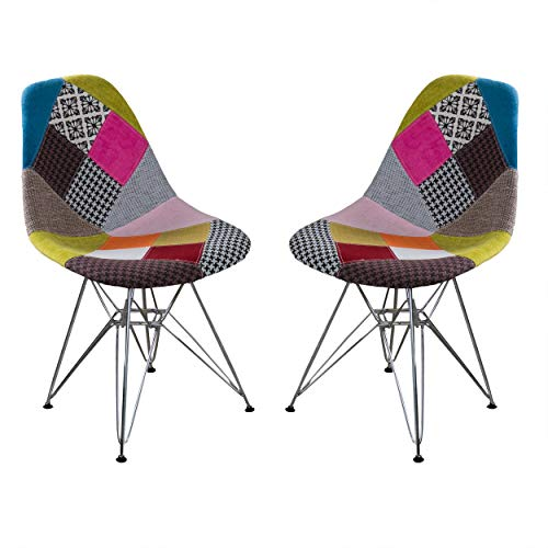 Wilmette Fabric Chair with Chromed Legs-Patchwork - Home Furnishing Goods