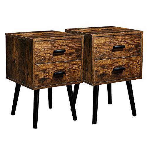 TianLang Nightstand with 2 Drawer,Set of 2 Industrial Side Table