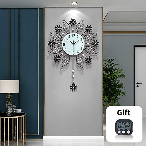 TT Black Wall Clock Modern Decorative Pendulum Wall Clocks for Living Room Decor
