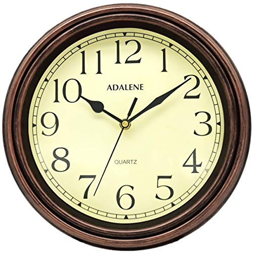 Adalene Wall Clocks Battery Operated Non Ticking - COMPLETELY SILENT 12 Inch Vintage Rustic Wall Clock
