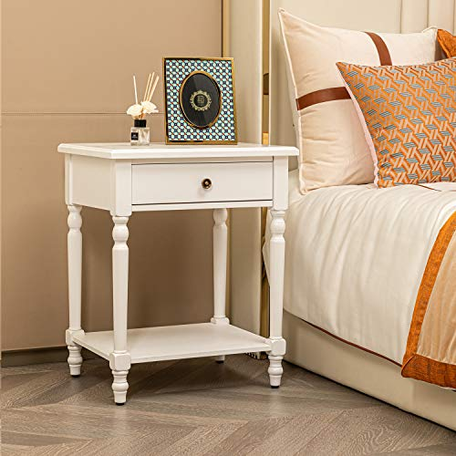 HAWOO Nightstand with Drawer and Storage Shelf End Table