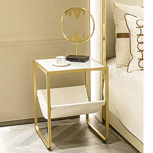 HAWOO Gold Nightstand, Marble Side Table