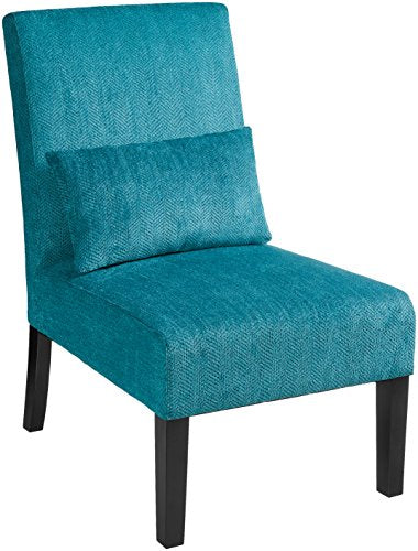 Martina Contemporary Upholstered Accent Chair with Back Pillow - Caribbean Blue - Home Furnishing Goods