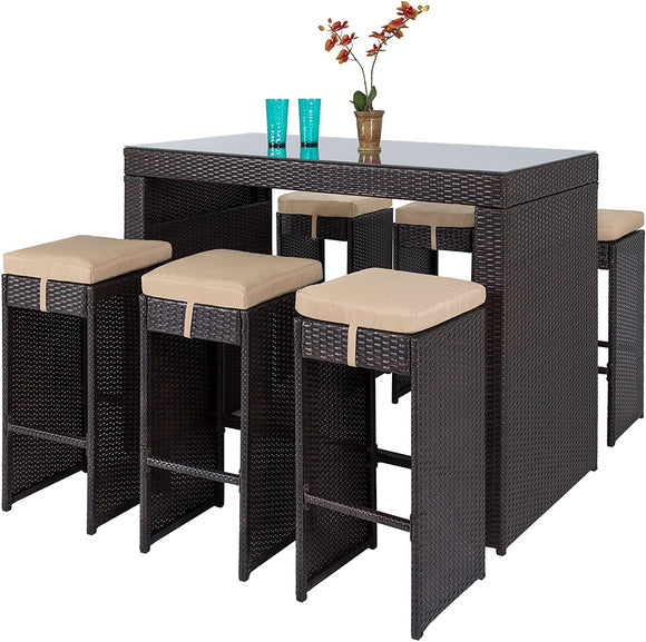 Best Choice Products 7-Piece Outdoor Rattan Wicker Bar Dining Patio Furniture Set w/Glass Table Top and 6 Stools, Brown